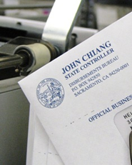 Envelope from State Controller's Office Disbursements Bureau